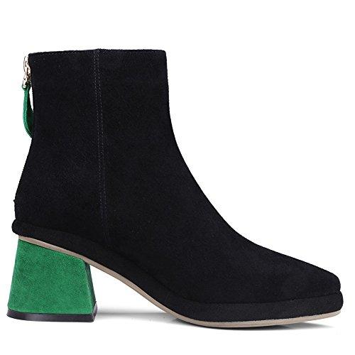Nio Sju Mocka Läder Womens Spetsig Tå Chunky Klack Mode Handgjorda Komfort Fotled Tossor Grönt