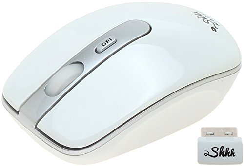 ShhhMouse Wireless Silent Noiseless Clickless Mobile Optical Mouse with USB Receiver & Battery, Portable & Compact, 3 Adjustable DPI Levels for Notebook, PC, Computer, Laptop, MacBook (White)