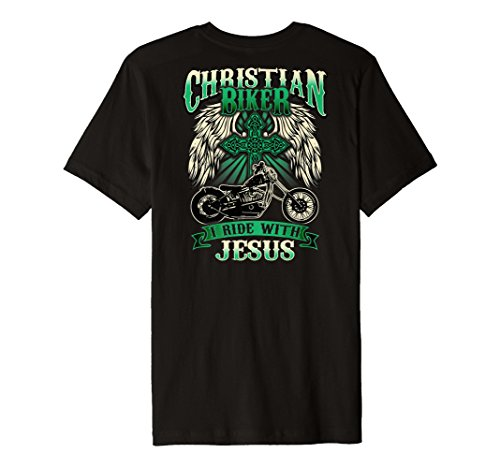 - Christian Biker Shirt Ride With Jesus Religious Back Print