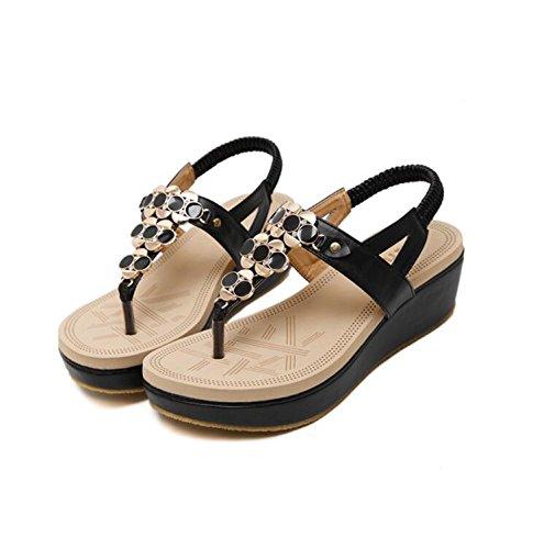 KHSKX-Schwarz 5 5 Cm Flache Sandale Mit Einer Neigung Mit Biskuitteig Mit Dicken Sandalen Flower Clips Und Mädchen Strand Sandals 36