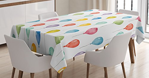 Home Decor Tablecloth by Ambesonne, Colorful Balloons Birthday Party Decorations Theme Celebration Festival Surprise Pattern, Rectangular Table Cover for Dining Room Kitchen, 60x84 Inch, Multi (Birthday Themes Decoration)