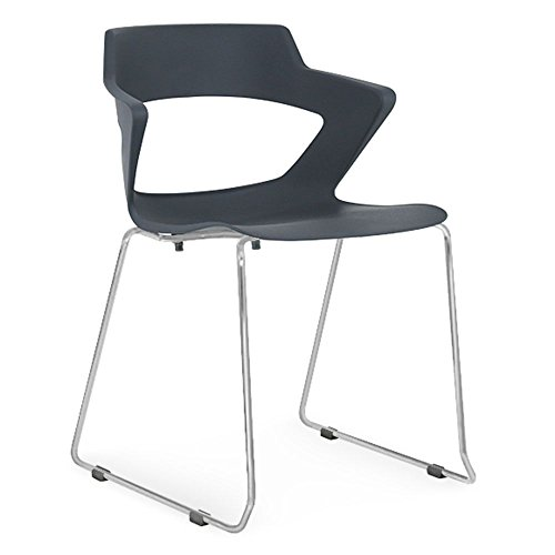 Zee Polypropylene Sled Base Stack Chair with Wing Arms Black Poly Shell/Chrome Frame Dimensions: 22