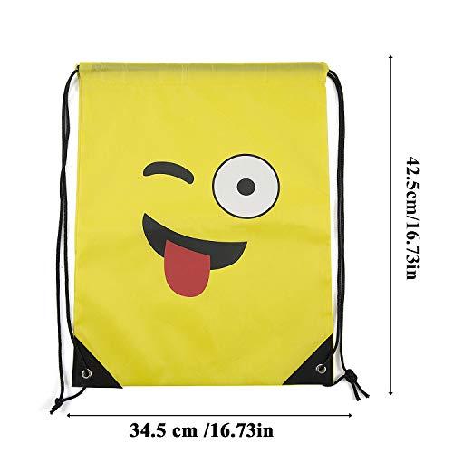6 para Bodas de Emoji niñas MOOKLIN Bolsas Emoji x y invitados Comuniones Infantiles niños Regalos Petates Mochilas de Cumpleaños Cuerdas qvRw4tfp