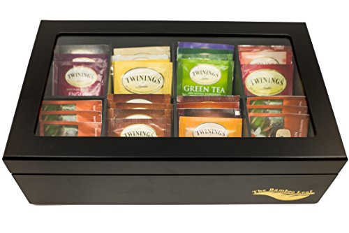 The Bamboo Leaf Luxury Wooden Tea Box Storage Chest, 8 Compartments w/Glass Window (Black) by The Bamboo Leaf (Image #2)