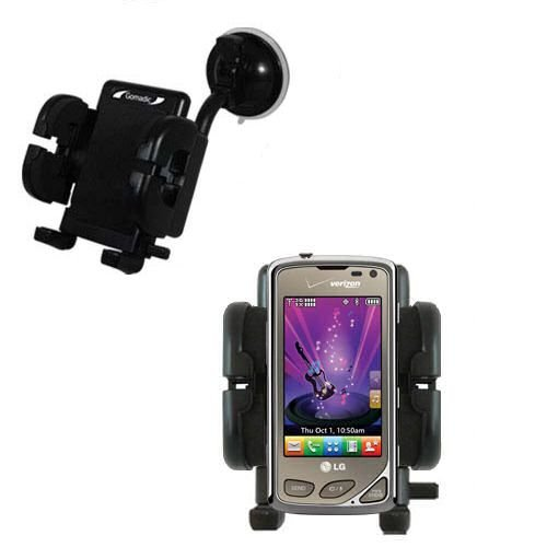 (Windshield Vehicle Mount Cradle suitable for the LG Chocolate Touch VX8575 - Flexible Gooseneck Holder with Suction Cup for Car / Auto.)
