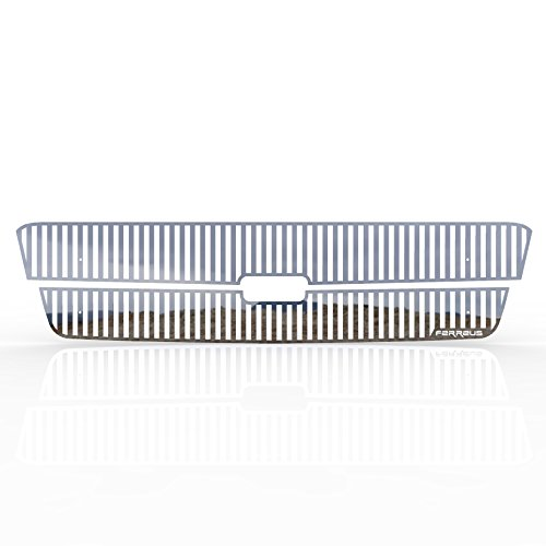Grille Insert Guard Vertical Billet Polished Stainless fits: 2002-2006 Chevy Avalanche w/o Body Cladding - Ferreus Industries - TRK-102-02-Chrome
