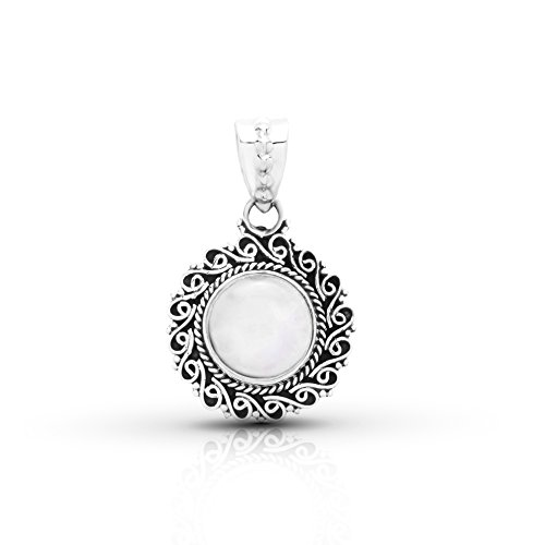 (Koral Jewelry Moonstone Round Stone Ethnic Pendant Sterling Silver 925)