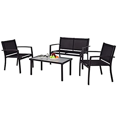Tangkula Patio Furniture Set 4 PCS Black with 2 Chairs, Tempered Glass Coffee Table & Loveseat for Backyard Lawn Pool Balcony Sturdy Armrests for Relaxing Universal Modern Patio Conversation Set - 【Modern & Compact Design】It was designed with simple and modern style. The fashionable style and exquisite workmanship will surely satisfy your demand of beauty and comfort. 【Sturdy & Comfortable】This outdoor table and chair set adopts high-quality textile fiber and steel frame, very stable and comfortable to use. Powder coated steel frame is rust prevention and keeps several years like new. 【Installation & Cleaning】According clear and brief instruction the set is easy to assemble. And all necessary hardware are included. Wet cloth can wipe dirty stain which is on the tempered glass coffee table. - patio-furniture, patio, conversation-sets - 41jnyFL6qKL. SS400  -