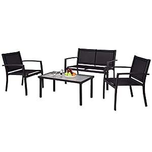 tangkula muebles de jardín de 4piezas al aire libre Patio marco de acero mesa y sofá conjuntos conversación Set