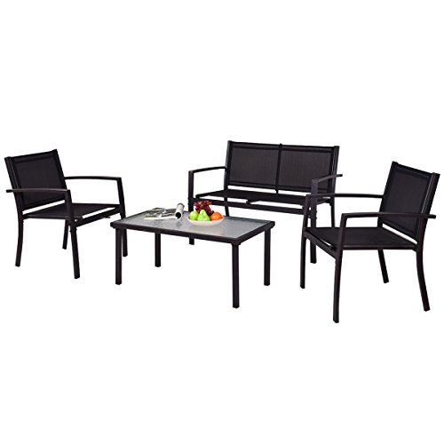 TANGKULA Patio Furniture Set 4 PCS Black with 2 Chairs, Tempered Glass Coffee Table & Loveseat for Backyard Lawn Pool Balcony Sturdy Armrests for Relaxing Universal Modern Patio Conversation Set (Steel Patio Furniture)