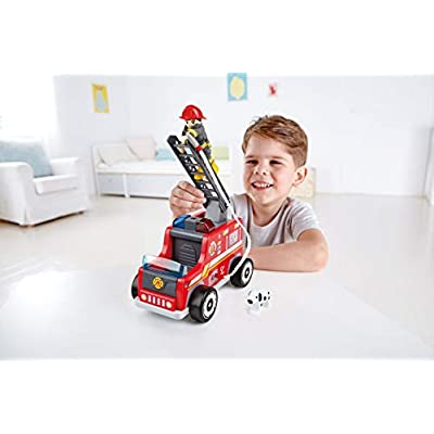 Hape Fire Truck Playset  Wooden Fire Engine Toy with Action Figure & Rescue Dog: Toys & Games