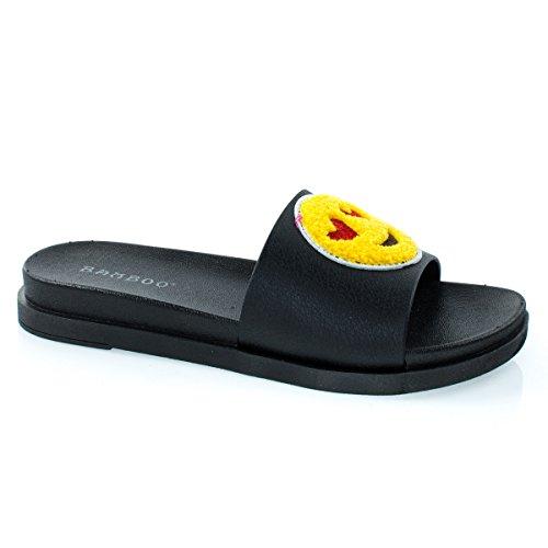 Pantofole Da Donna Con Patchwork Emoji, Scivolo In Sandalo. Smilie Love & Poo Face Bklve