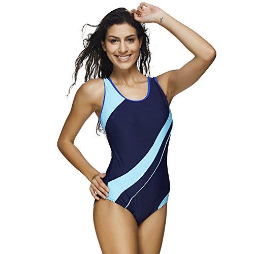 JOYMODE One Piece Swimsuits Briefs Sports Swimwear Color Block Tankini Size 3XL Navy Blue