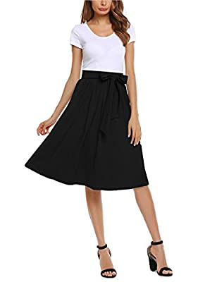 Zeagoo Women High Elastic Waist Flare A-line Full Midi Office Skirt with Belt S-XL