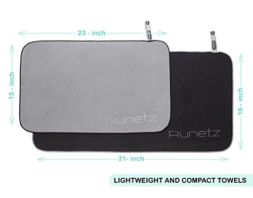 Runetz Soft Microfiber Athletic Towel, Super Absorbent & Quick Drying Lightweight for Gym, Sport, Travel, Large/Small, Black/Gray, 2 Piece by Runetz (Image #3)