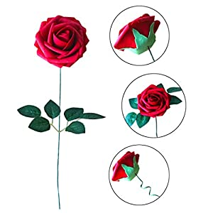 JaosWish 25PCS Real Touch Artificial Roses Fake Flowers with Stem DIY for Wedding Bouquets Baby Shower Party Home Decorations 8