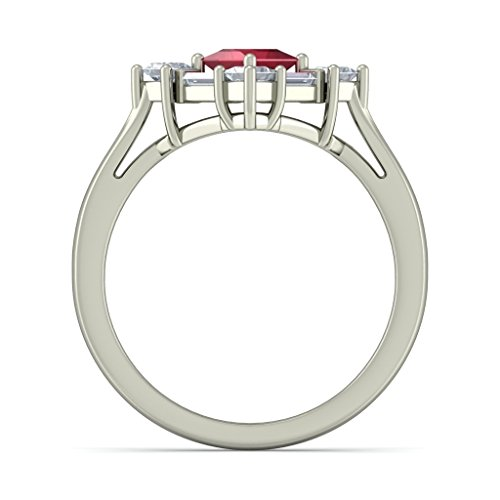 18K Or Blanc, 0,5carat Diamant Blanc (IJ | SI) Rubis et diamant Bague