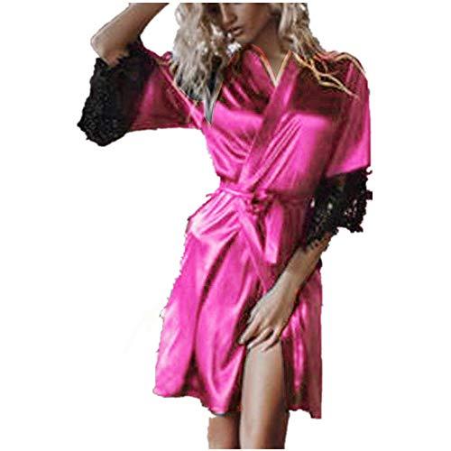 Emimarol PJ Women's Sexy Silk Kimono Dressing Babydoll Lace Lingerie Belt Bath Robe Nightwear Hot Pink