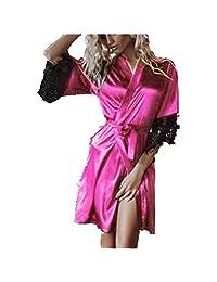 FONMA Women Sexy Dressing Silk Kimono Babydoll Lace Lingerie Belt Bath Robe Nightwear
