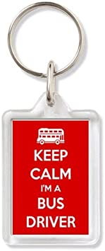RED Keep Calm I/'m a Bus Driver Metal Keyring 0048