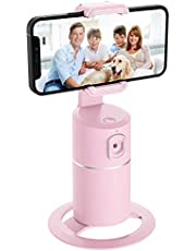 Auto Tracking Phone Holder,360° Rotation Face Body Track Mount,Tracking Tripod for Vlog Shooting Live Streaming,Build-in Battery,No APP Required(Pink)…