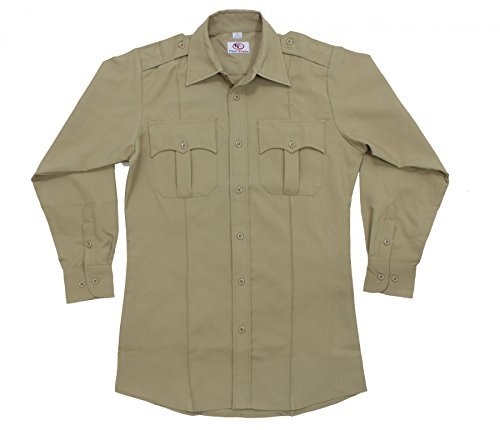 Zippered Uniform - First Class 100% Polyester Long Sleeve Zippered Uniform Shirt 2XL LIGHT TAN
