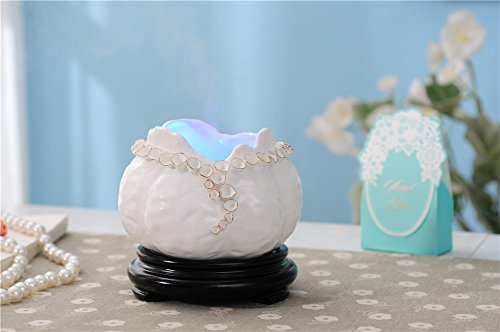 Deerbird Soothing Mist Creative Multicolor Drop-shape Buds Ultrasonic Mute Aroma Ceramics Humidifier Flower Calyxes Aromatherapy Essential Oil Diffuser 600ml for Home Office Baby by DeerBird