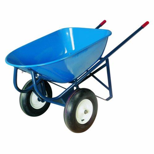 Bon 19-102 6-Cubic Foot Heavy Duty Roofer's Double Wheel Wheelbarrow, Steel Tray