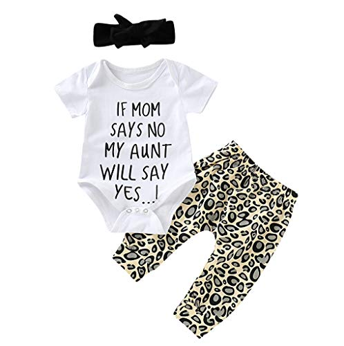 Inflant Baby Girl Leopard Outfit Long Sleeve My Aunt Says Yes Shirts Tops Long Pants Heaband Clothes (6-12 Months, Short -