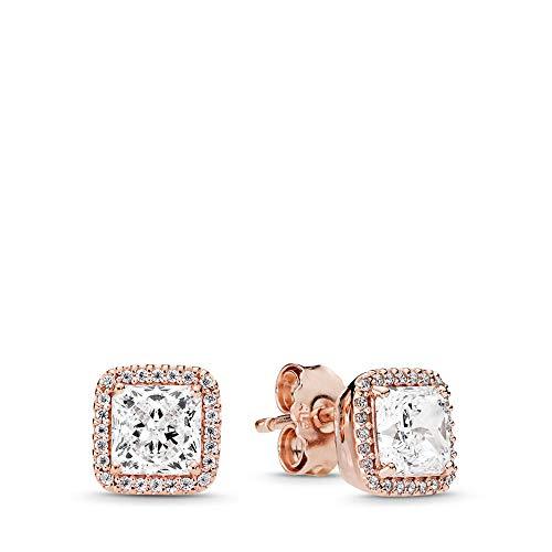 PANDORA Timeless Elegance Stud Earrings, PANDORA Rose, Clear Cubic Zirconia, One Size