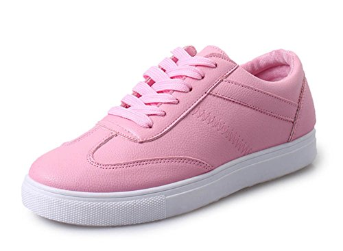 Mujeres Casual Casual Round Toe Low Tops Plataforma Skateboard Flats Lace Up Sneakers Zapatos Pink