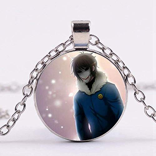 Children's Creepy Macaroni Tichita Tobey Necklace Glass Pendant Silver Chain Gothic -