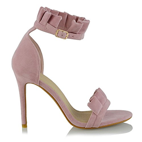 ESSEX GLAM Womens High Heel Ruffle Sandals Stiletto Frill Ankle Strap Ladies Peep Toe Party Court Shoes Pastel Pink J12oEJPKGQ