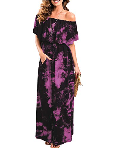 (Woman Summer Dresses, Womens Off The Shoulder Ruffle Party Dresses Tie Dye Split Maxi Long Dress (M, Rose Red))
