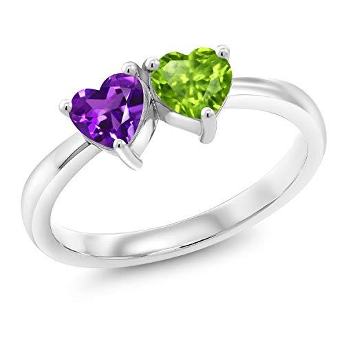 Gem Stone King 0.90 Ct Heart Shape Purple Amethyst Green Peridot 925 Sterling Silver Ring (Size 6) ()