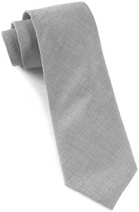 The Tie Bar 100% Cotton Light Gray Solid 3 Inch Tie