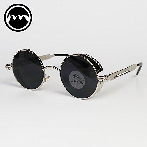 black de Black frame mirror Hop mujer Box VVIIYJ Mirror Hip Black Silver Hombre Gafas Gafas sol redondas sol Gafas de de Punk nw6xPSgC