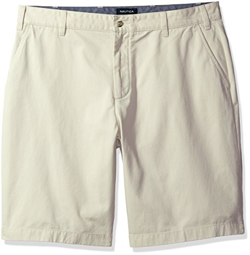 Nautica Men's Big and Tall Cotton Twill Flat Front Chino Deck Short-C92110, Stone, - Tall Big And Nautica