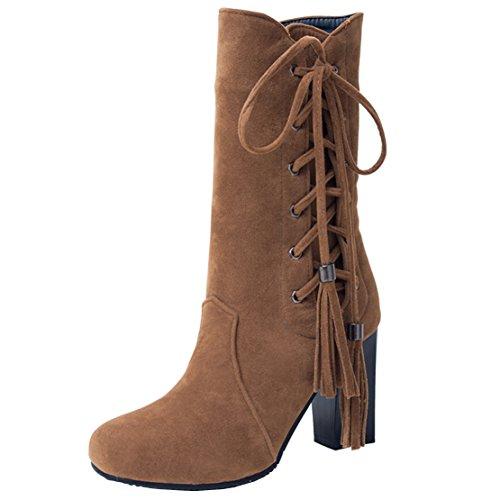 AIYOUMEI Damen Blockabsatz Halbschaft Stiefel mit Reißverschluss und Fransen Winter Mid Calf Boots Braun