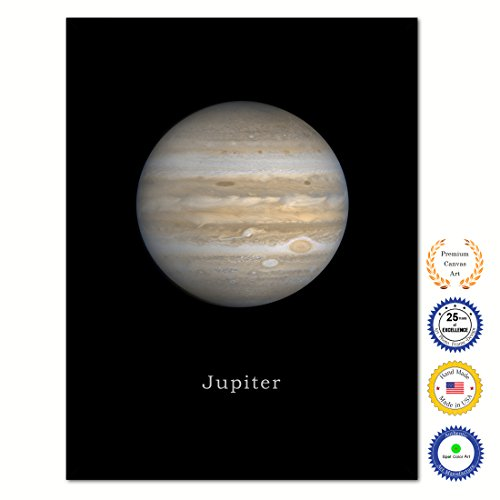 Jupiter Print on Canvas Planets of Solar System Black Custom Framed Art Home Decor Wall Offec Decoration, 7