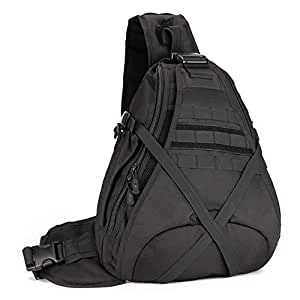 Tactical Shoulder Bag, WOTOW Military Molle Crossbody Sling Daypack Laptop Outdoor Commuter Backpack for Hunting Camping Riding Trekking Travelling (Black)