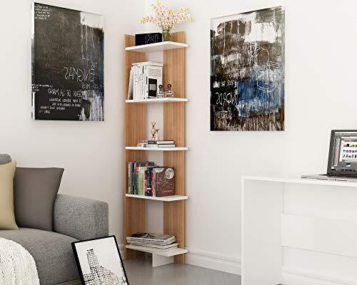 (Decorotika Alice 5-Tier Corner Bookcase Bookshelf, Storage and Organizer for Living Room, Dining Room, Bedroom, Kitchen and Bathroom, Multiple Use Option, Modern Design)