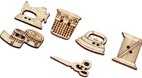 Pinhan - 100 Botones de Madera con Forma de máquina de Coser, 2 ...