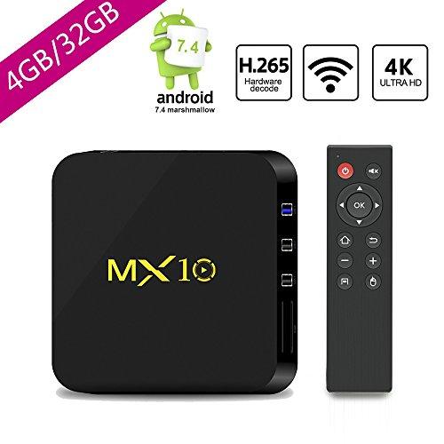 2018 Upgrade Android TV Box 4G+32GB Smart Digital 3D4KWIFIH265UHD Quad Core  64 Bits Wireless Smart TV Box by SCS ETC