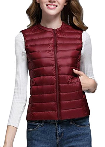 Jacket Sleeveless Solid Slim Womens Puffer Wine today Neck Red Vest UK Round Down qXxO4