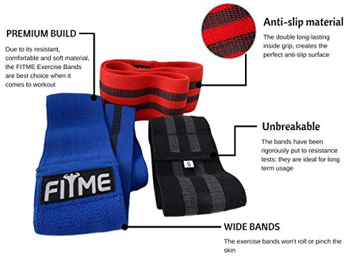 FITME Premium Exercise Resistance Workout Bands with Grip (Pack of 3 Sizes) - Exercise Guide and Carry Bag Included by FITME Sports (Image #3)
