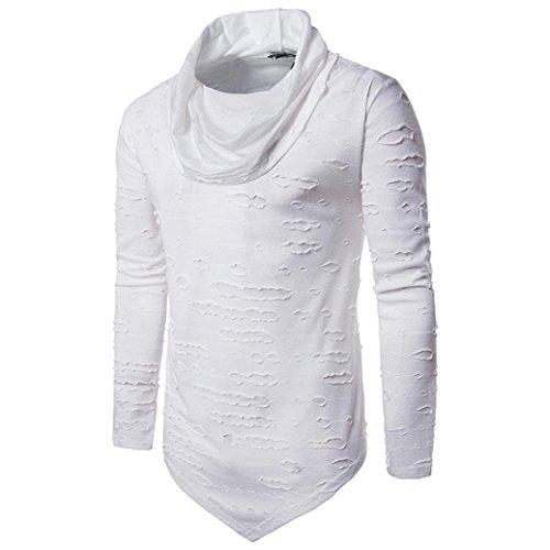 iLH® Hot Sale!!Men's Hole Sweatshirts,ZYooh Fashion Hip Hop Irregular Slim Fit Long Sleeve Shirt (M, White)