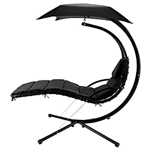 Skylin Hanging Chaise Lounger Chair Patio Swing Hammock Canopy Camping Outdoor Leisure(US Stock) (Black)