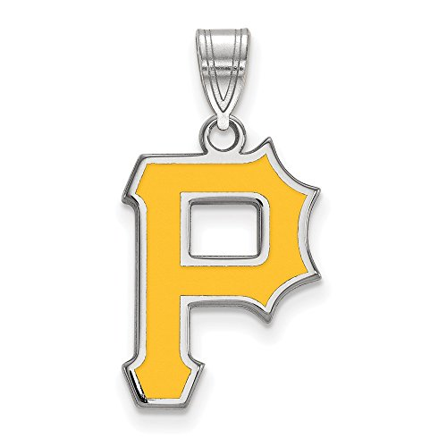 (MLB Pittsburgh Pirates Sterling Silver MLB LogoArt Pittsburgh Pirates Lg Enl Pendant Size One Size)