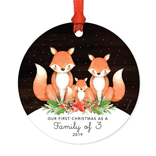Andaz Press Family Metal Christmas Ornament, Our First Christmas as a Family of Three 2019, Watercolor Fox in Snow, 1-Pack, Includes Ribbon and Gift Bag, Newborn New Baby Mom Dad Xmas Present]()